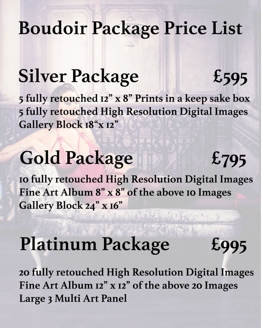 Images Unlimited - Boudoir Photography Price List